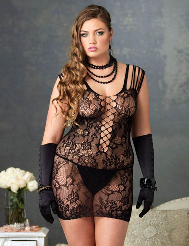 Plus Size Sheer Full Lace Bodystocking