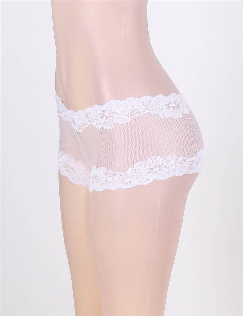 Plus Size Lace Transparent Black Panty