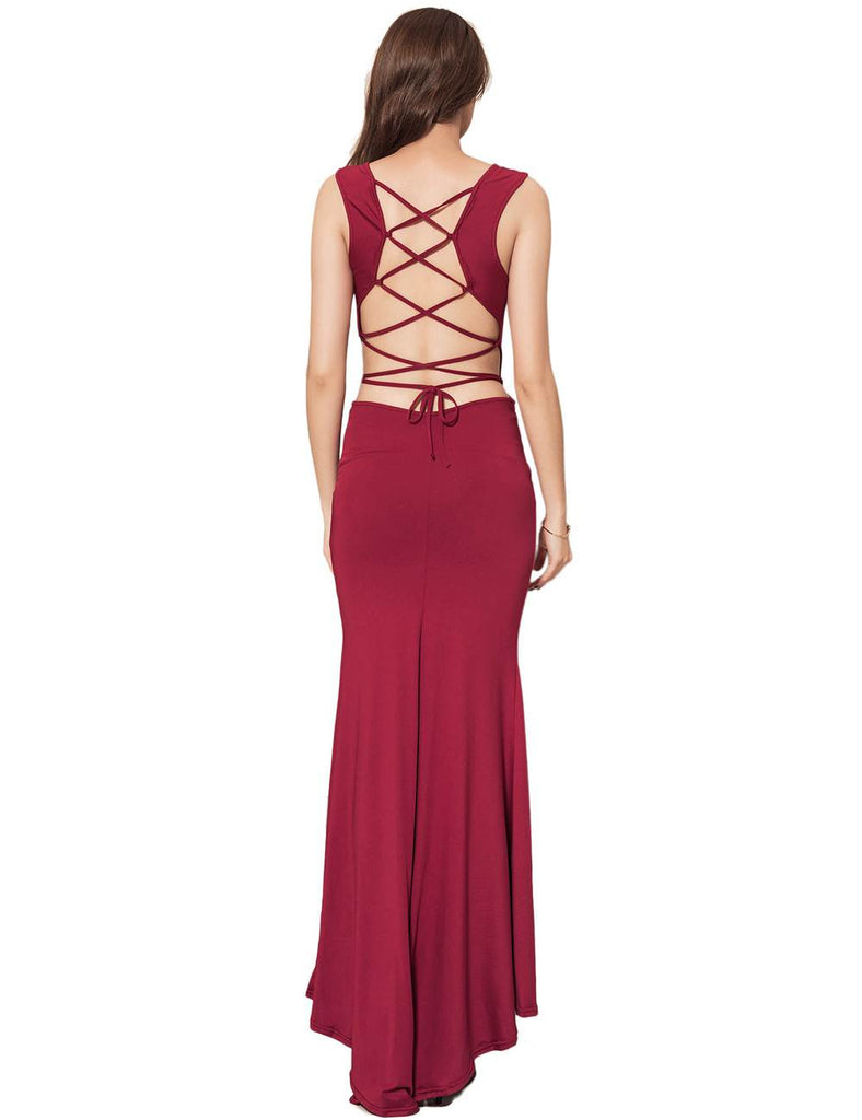 Red Croch Straps Back Slit Party Gown