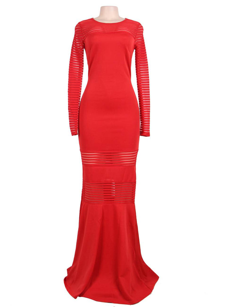 Red Stripe Fishtail Long Sleeve Evening Dress