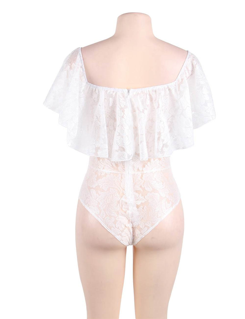 Dreamy Off Shoulder White Lace Ruffle Teddy