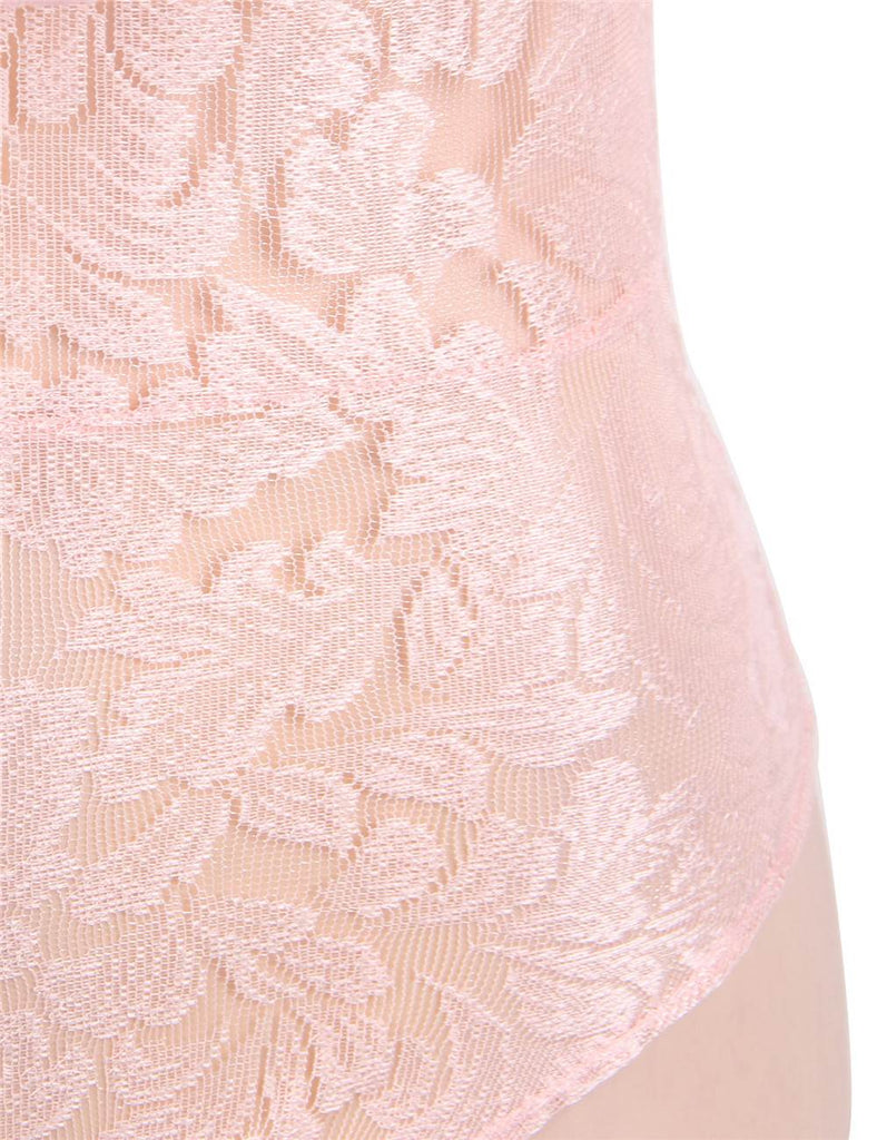 Dreamy Pink Lace Ruffle Off Shoulder Teddy