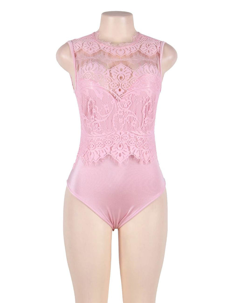 Plus Size Floral Embroidery Lace Sexy Teddy