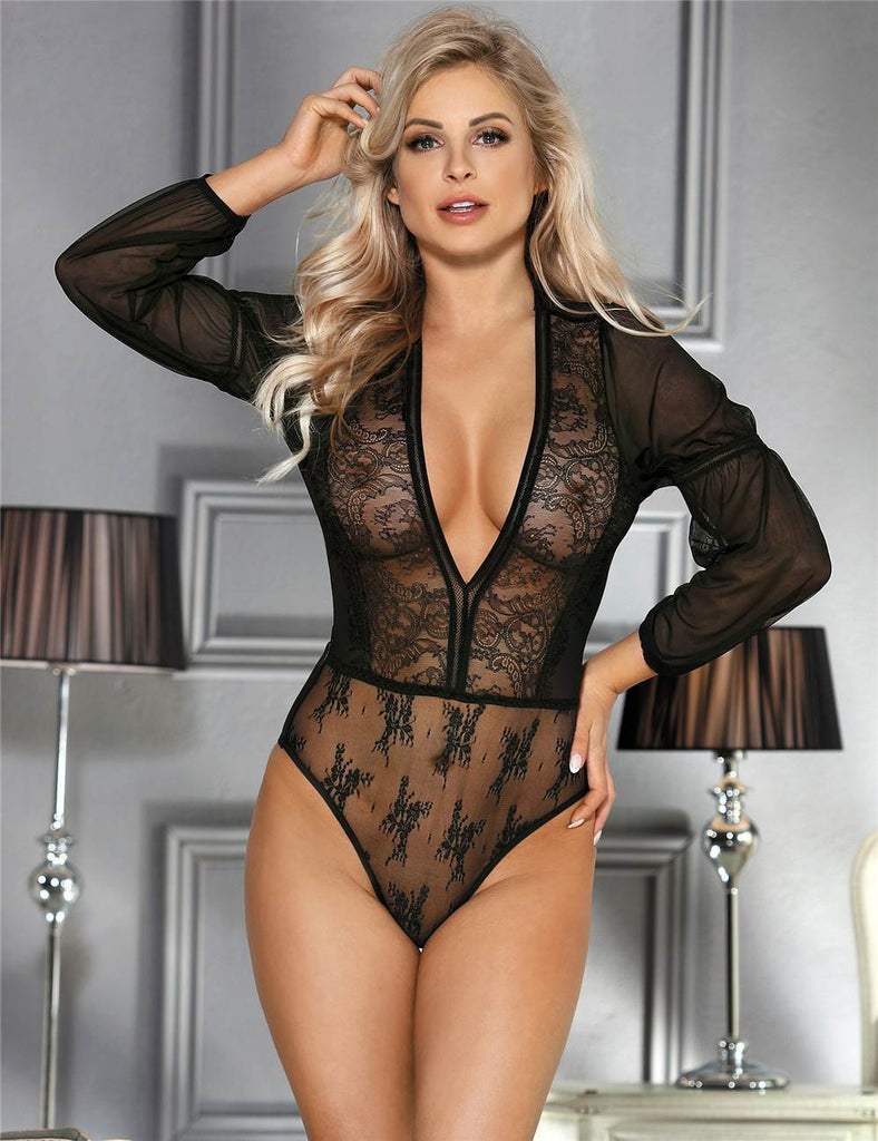 Exquisite Lace Long Sleeve Teddy