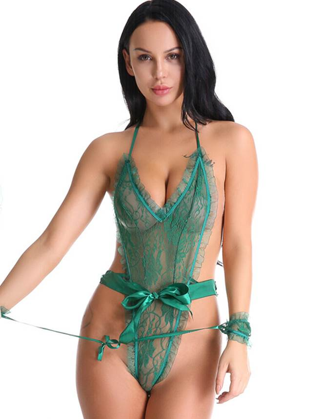 Lace Ruffle Teddy with Wrist Restraints