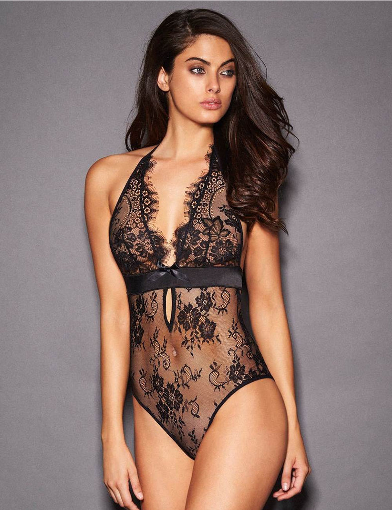 Black Deep V Backless Exquisite Lace Teddy