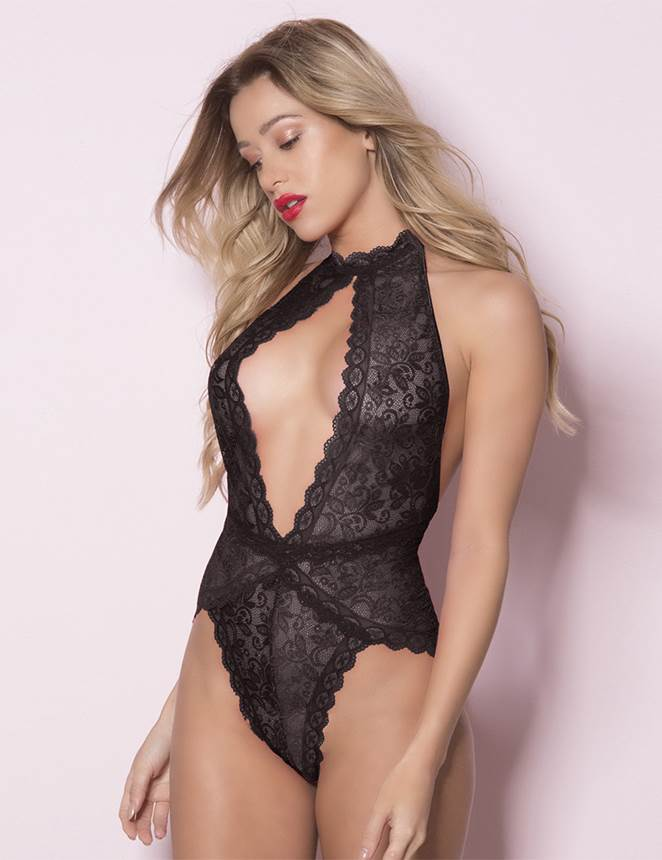 Black Exquisite Lace Open Cup Teddy
