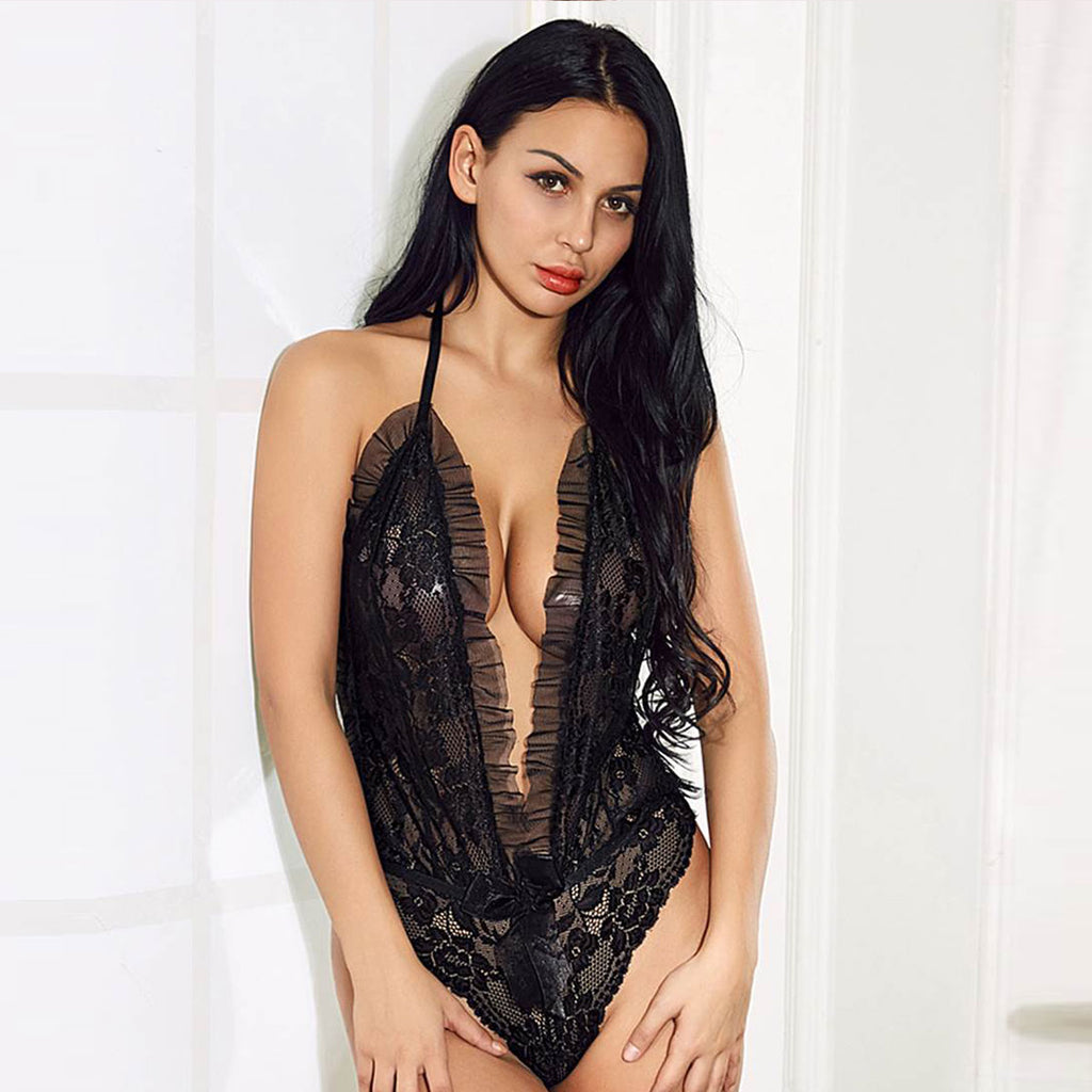 Deep Plunge Halter Sheer Lace Teddy
