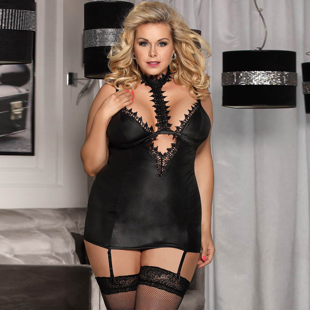 Leather Exquisite Lace Choker Neck Chemise