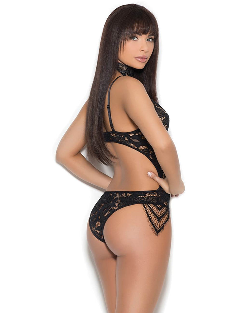 Black Lace Backless Babydoll Set