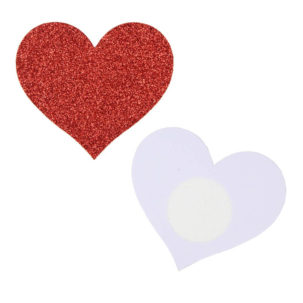 Red Glitter Heart-shaped Nipple Cover