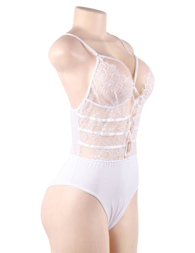 Plus Size White High Quality Lace Sexy Hollow-out Conjoined Underwear