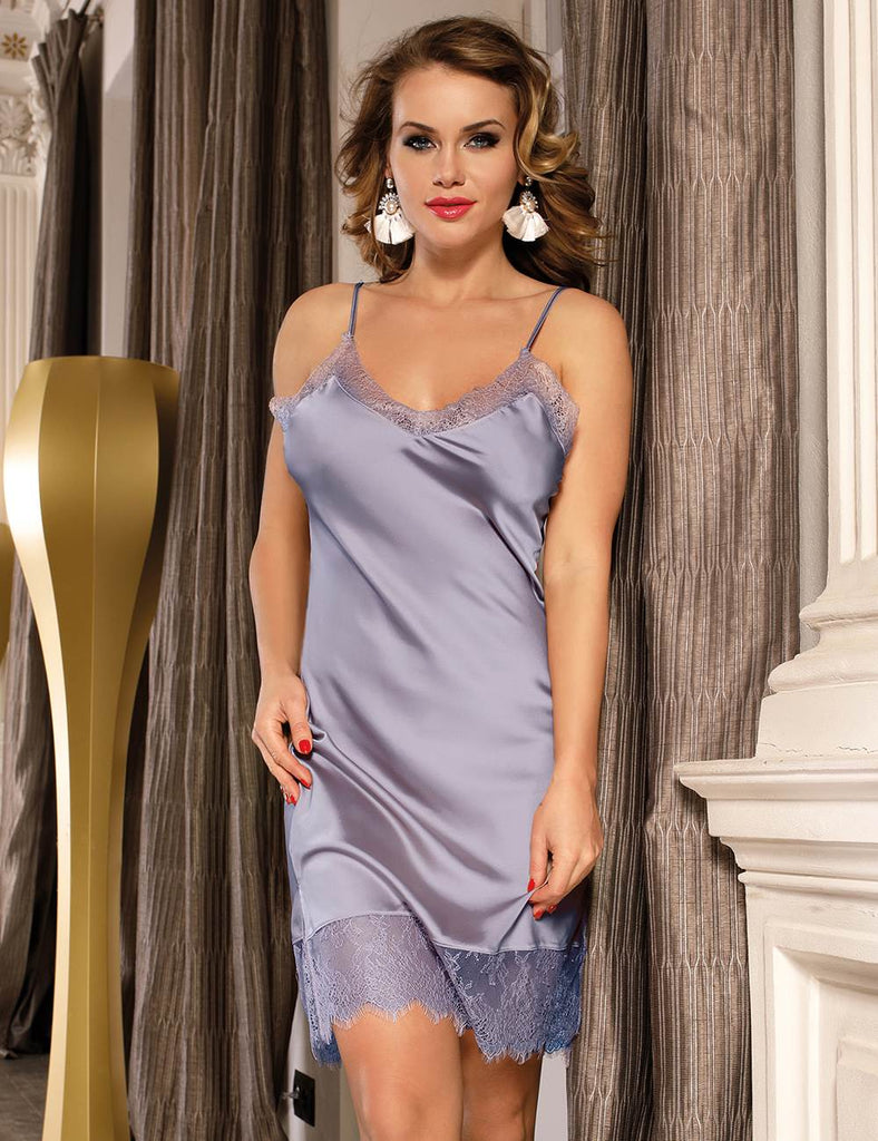 Plus Size Sexy Fashion Silk Satin Lace High Quality Women Pajama