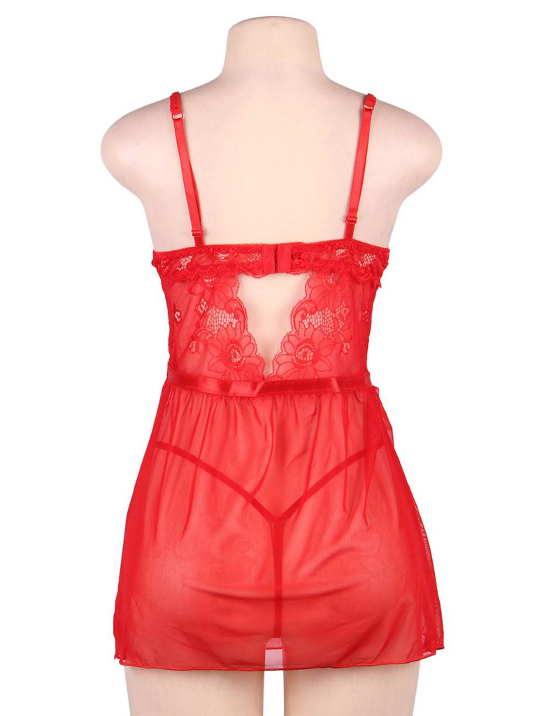 Plus Size Elegant Red Lace Straps Backless Babydoll Set With Steel Ring