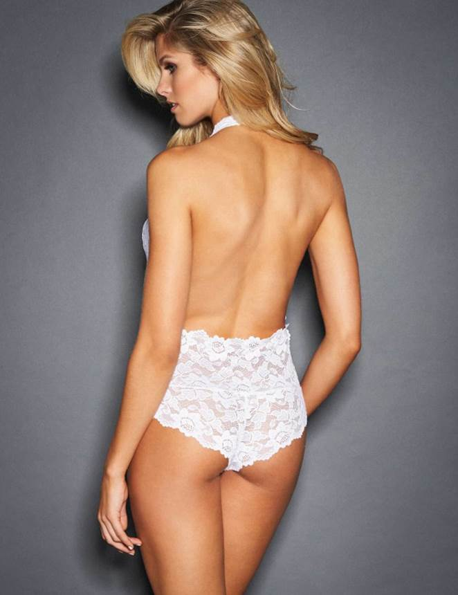 White Backless Deep V Exquisite Lace Teddy