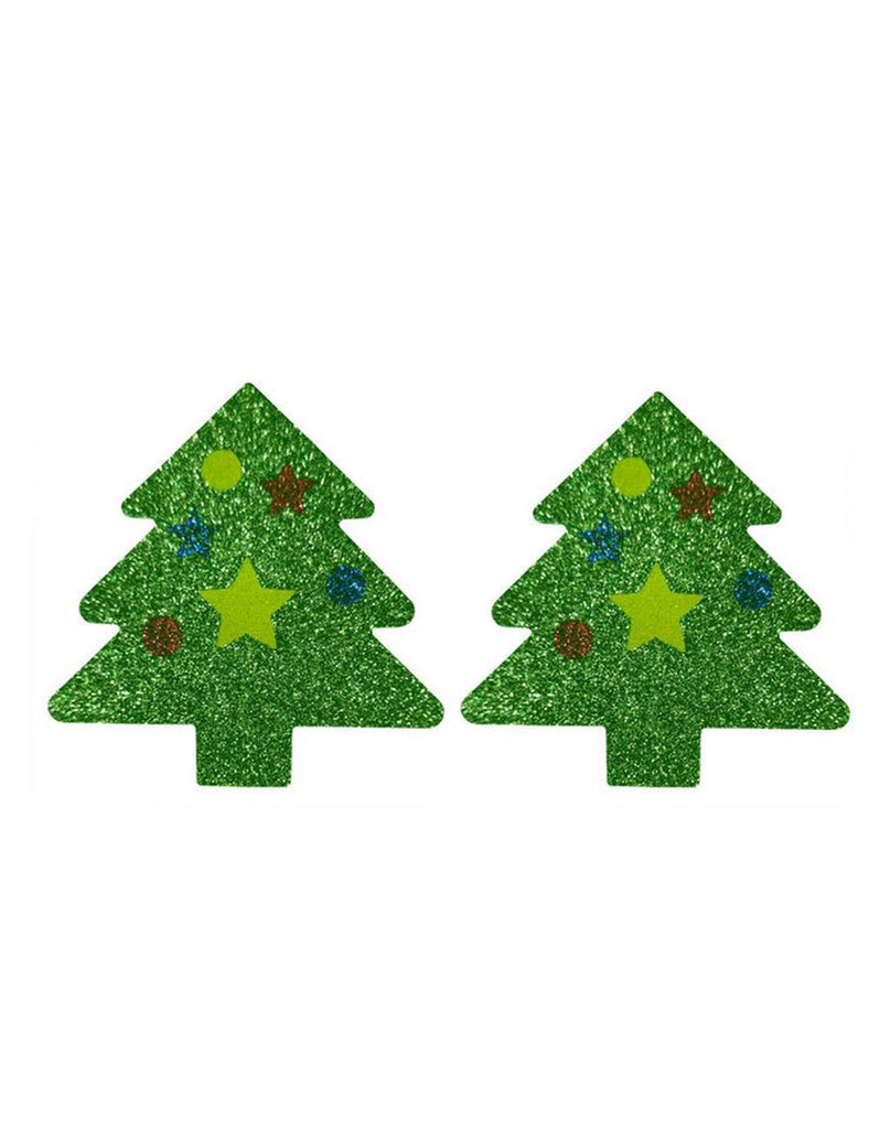 Shiny Christmas Tree Disposable Nipple Stickers
