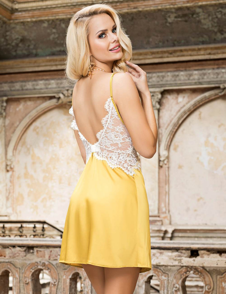 Yellow Sexy High-end Satin Lace Stitching Open Back Ladies Lingerie