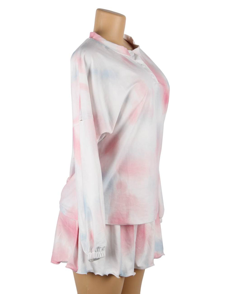 Tie-Dye Drawstring Casual Pants Long Sleeve T-Shirt Women's Suit