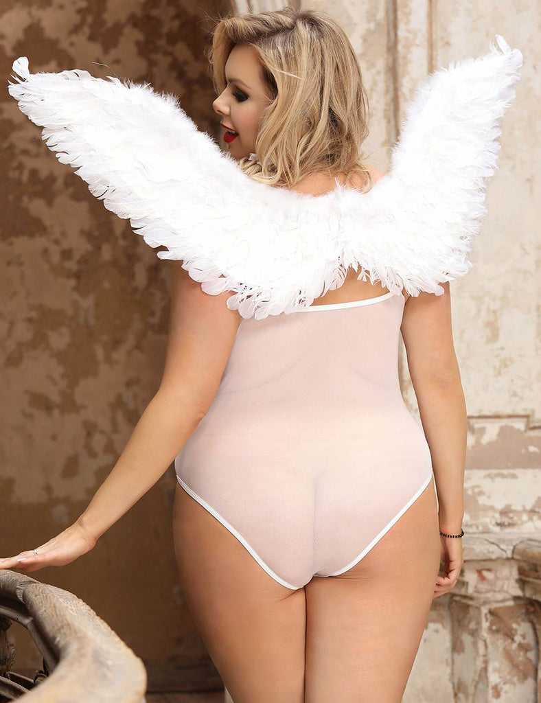 Angel Feather Wings Decoration White Lace Sexy Bodysuit
