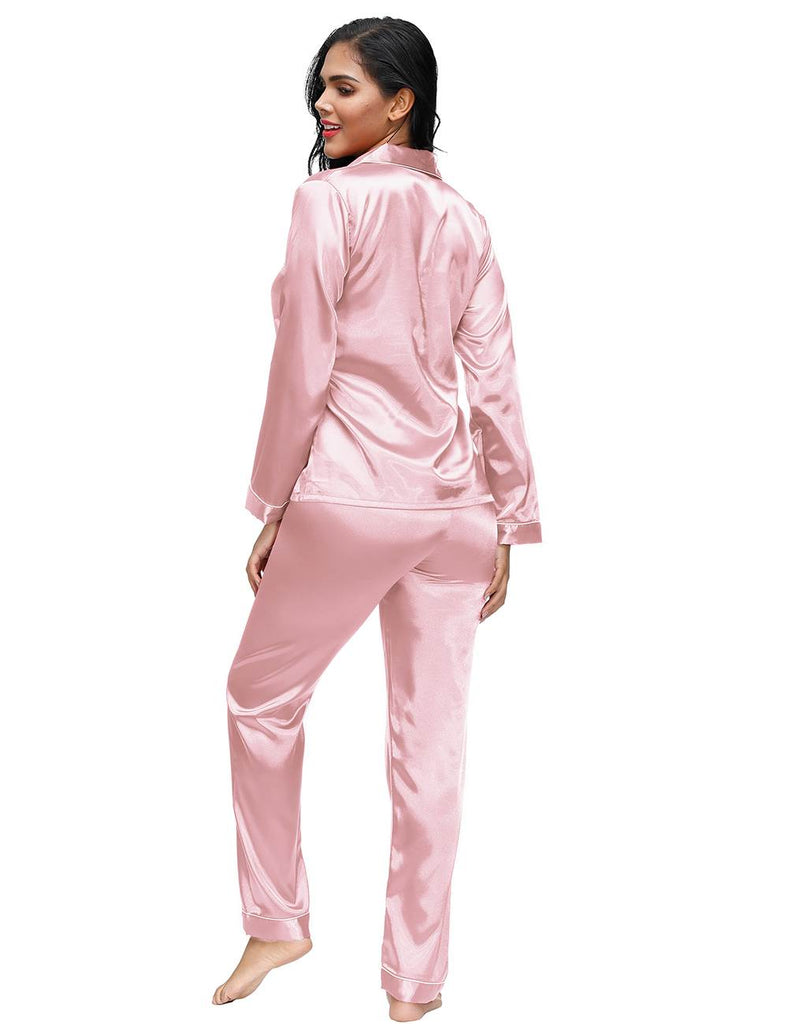Long Sleeve Silk Pajamas Set Two Piece Set