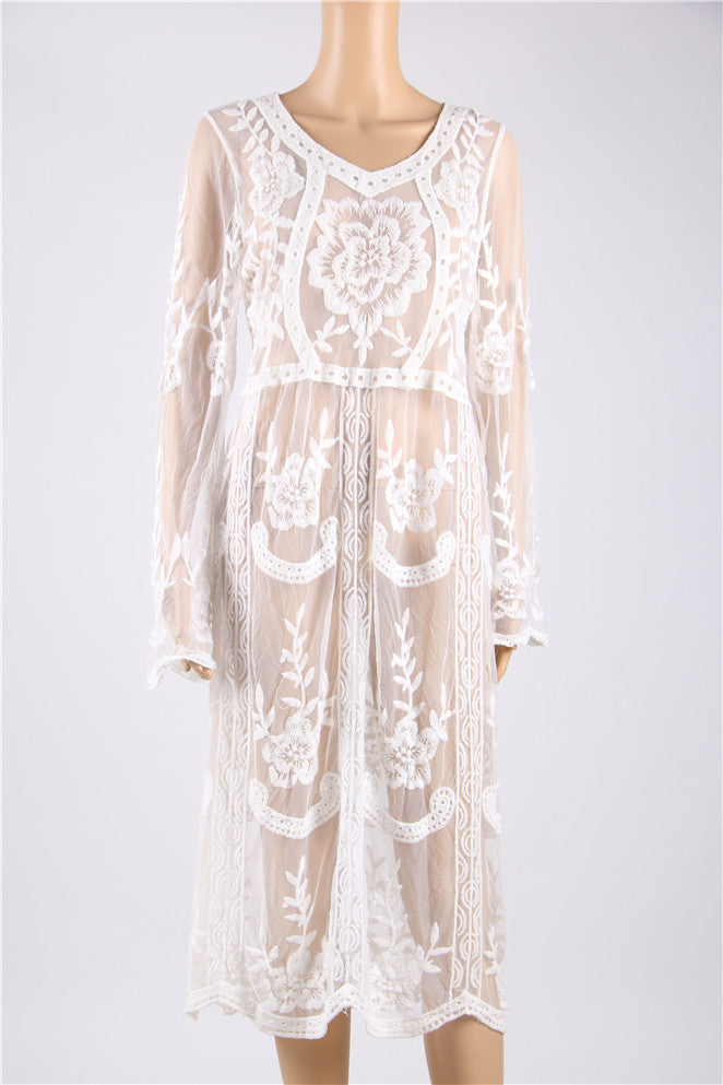 Long White Lace Floral Sumber Beach Dress
