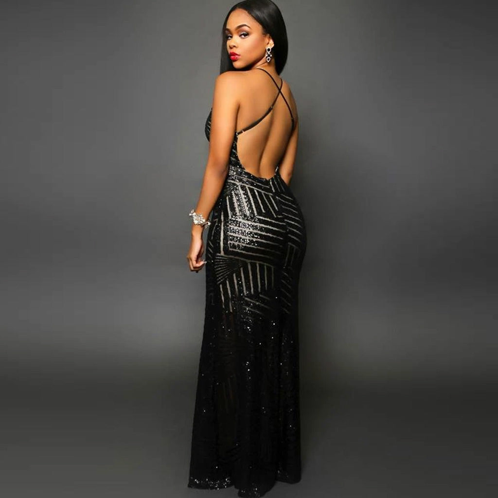 Striped Sequins Nude Long Dress