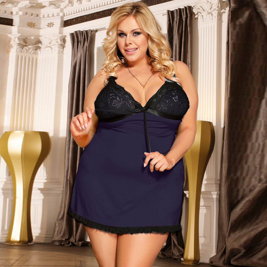 Plus Size Dark Blue & Black & Red Sexy Fashion Cotton High Quality Women Pajama Sets