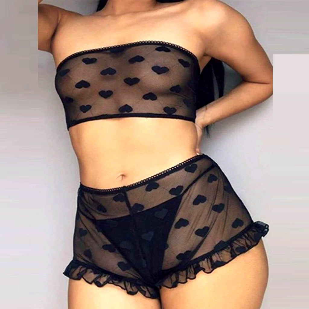 Perspective Sexy Women High Waist Black Full Lace Bra Panty Underwear