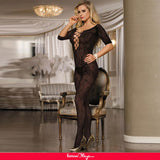 Open Crotch Rose Pattern Lace Black Bodystockings