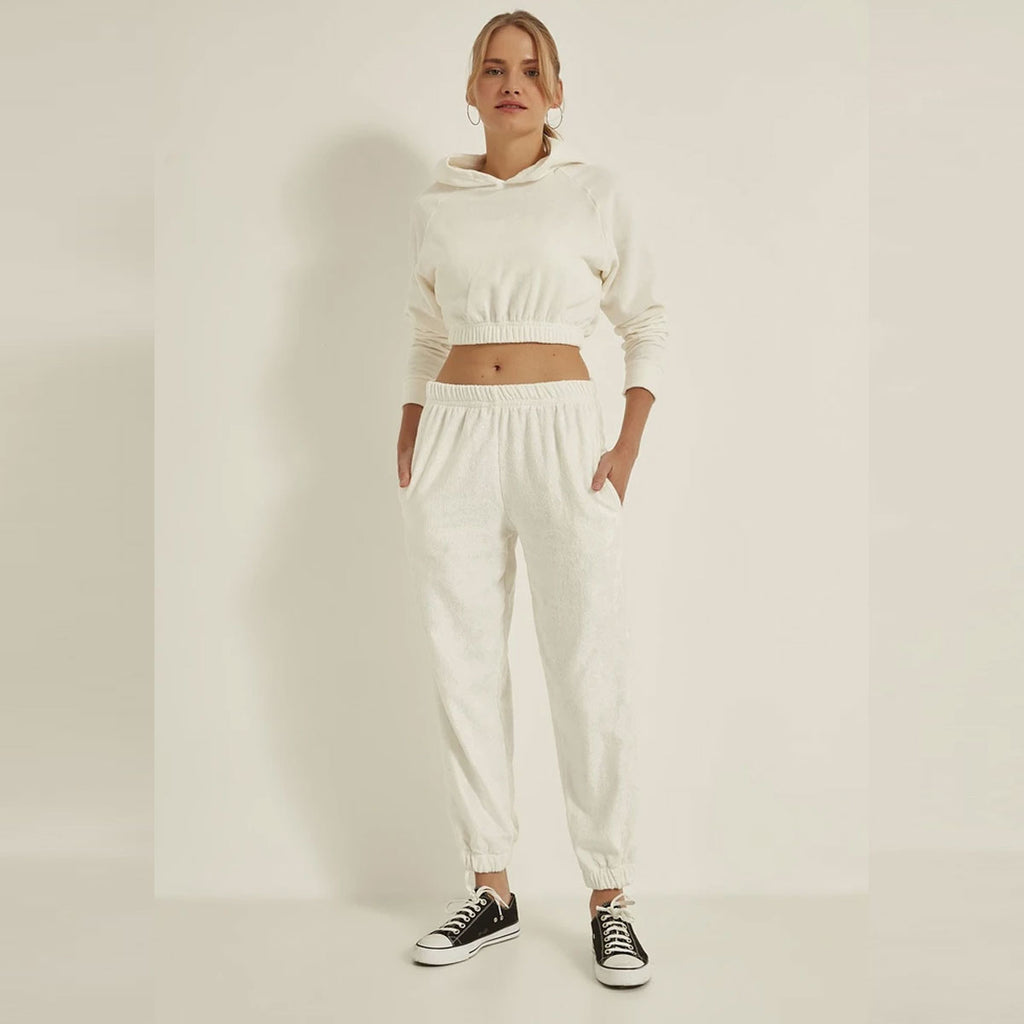 Women Knitted Hoodie Crop Sweater & Sweatpants