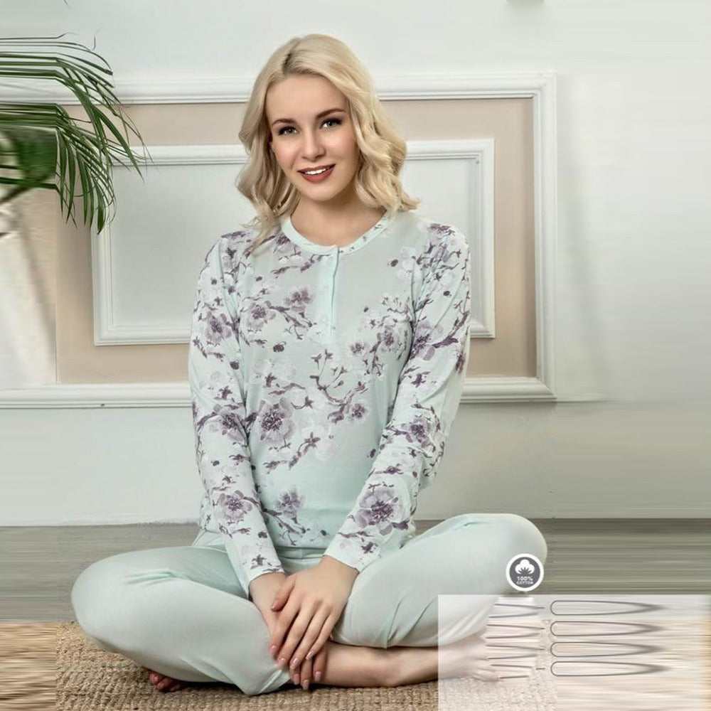 Stylish pajamas with sleeves and long pants