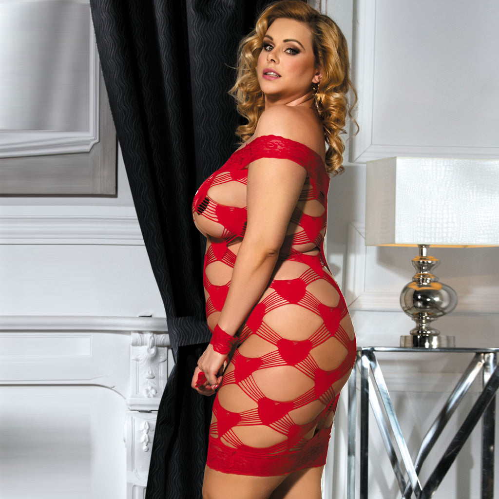 Plus Size Off Shoulder Fence Net Red Bodystocking