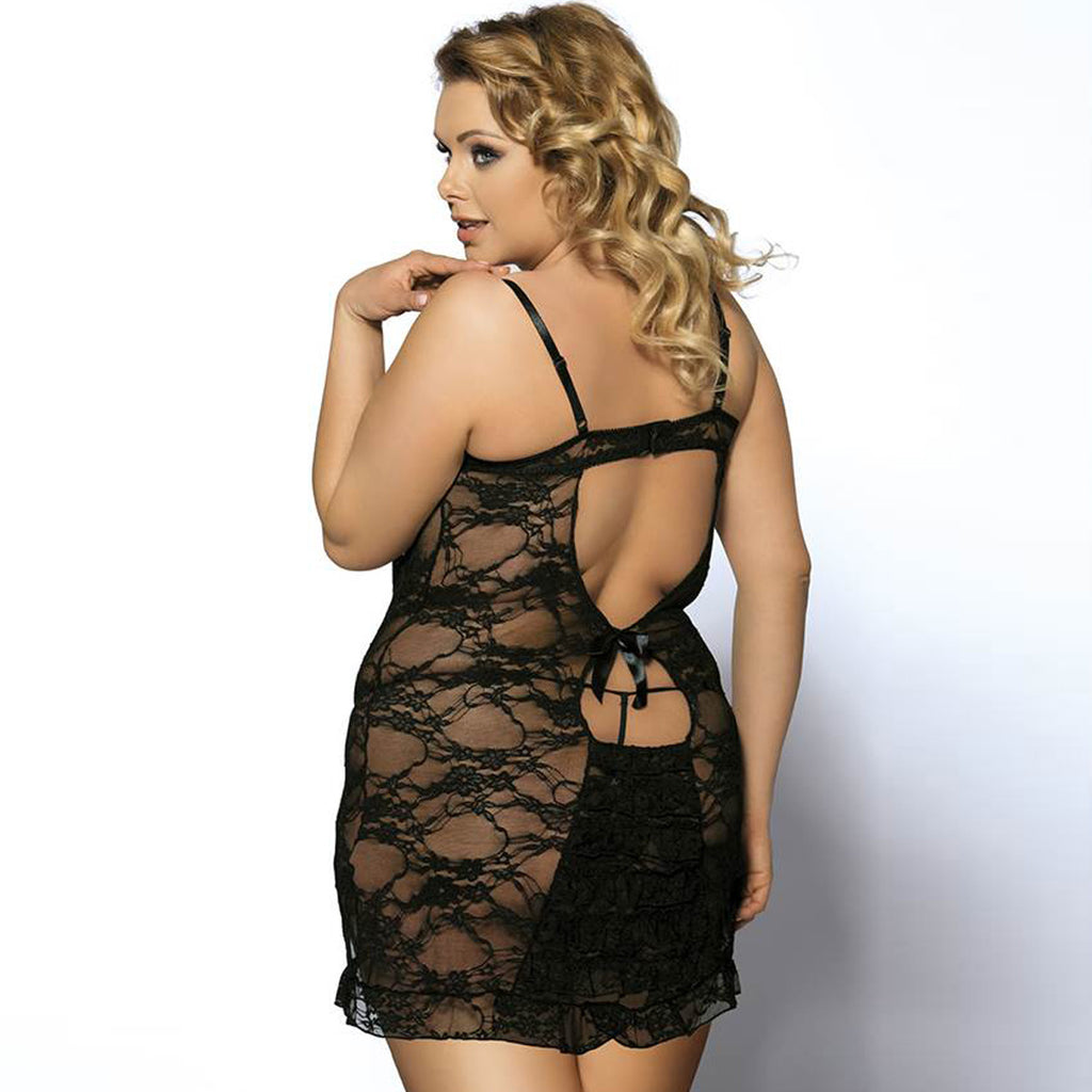 Lace Mesh Lingerie With Round Back