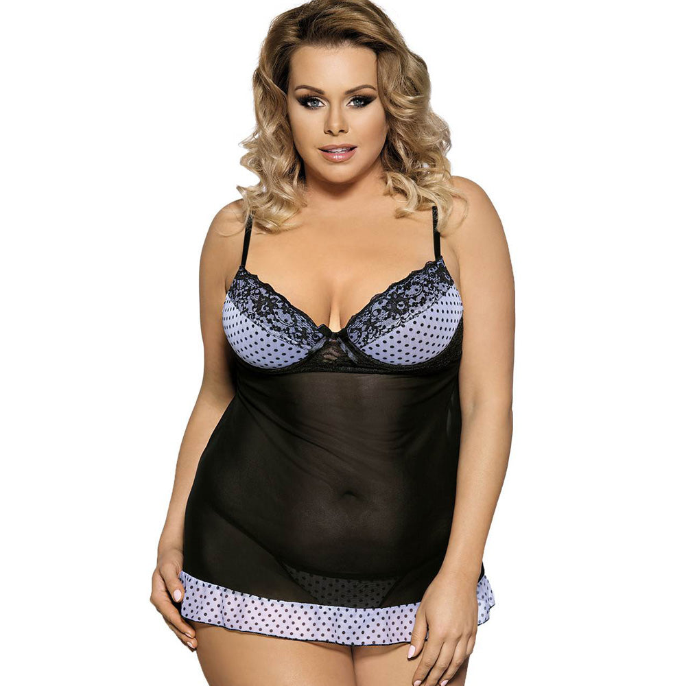 Transparent Polka Dot Babydoll With Lace Trim