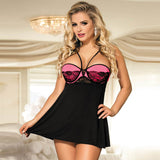 lace stitching halter babydoll