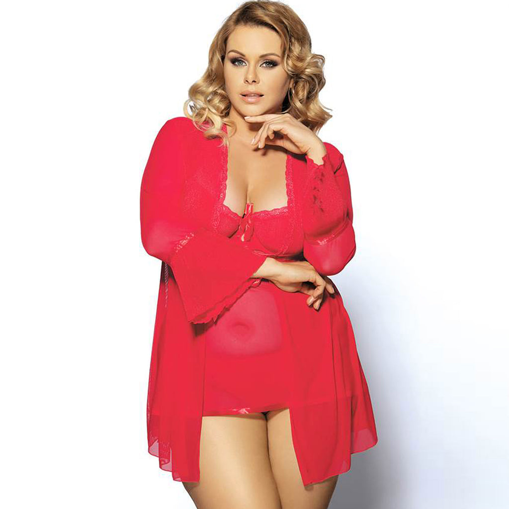 Plus Size Babydoll With Robe