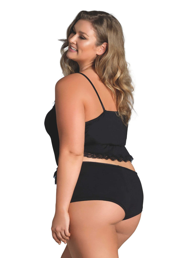 Plus Size Black Jersey Cami and Boy Shorts