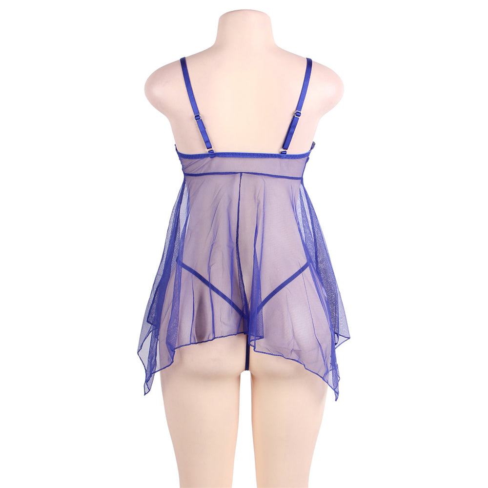 Plus Size Blue Sheer Mesh Babydoll Lingerie Set