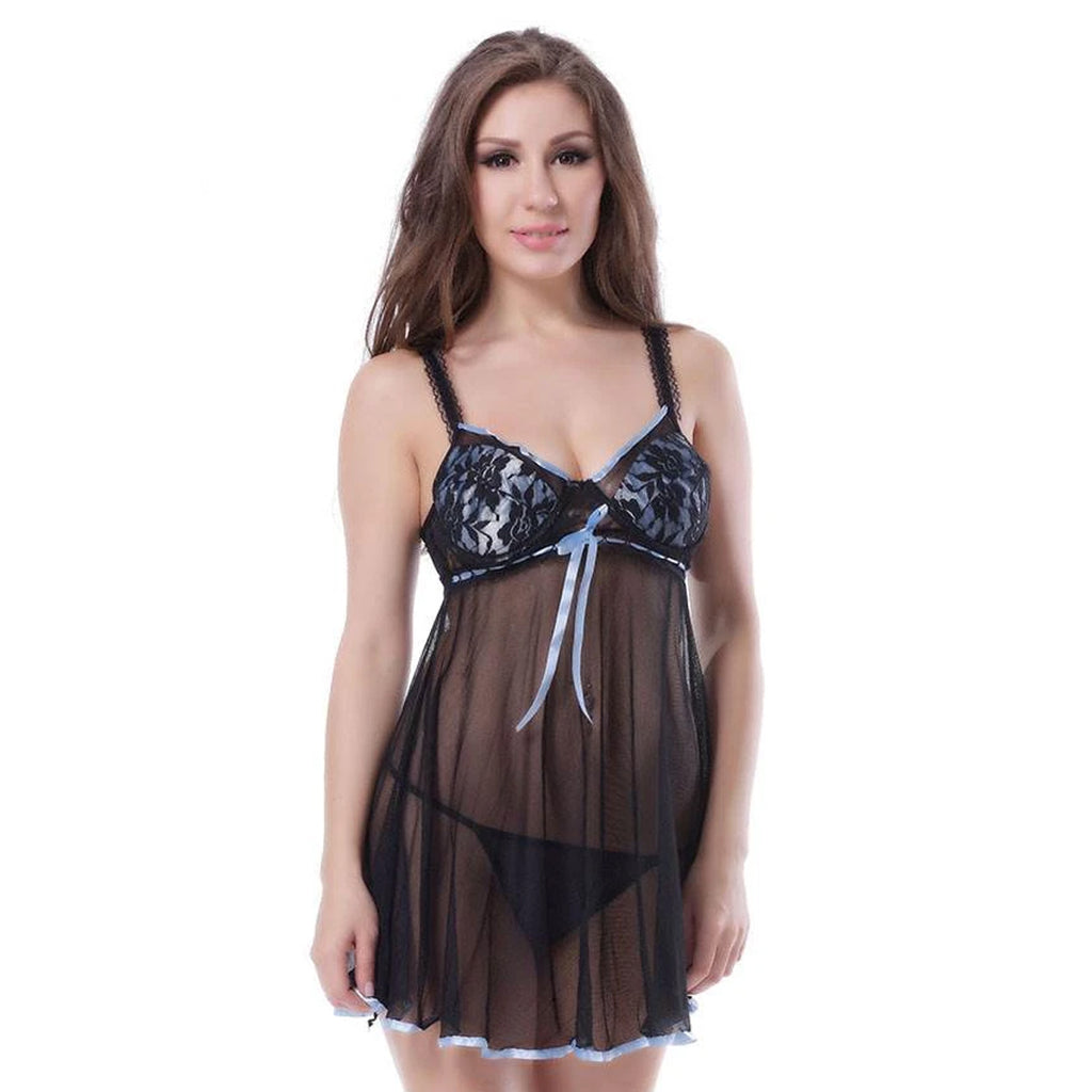 Black Plus Size Transparent Babydoll With Red Ribbon