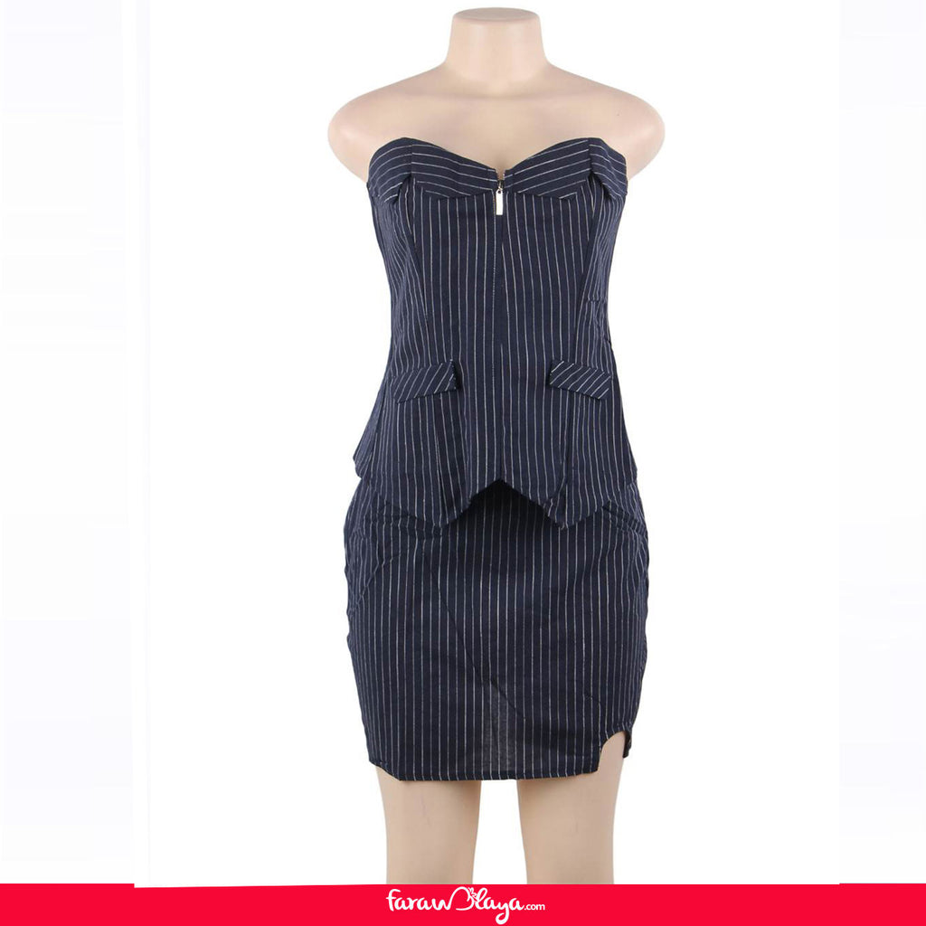 Office Lady Pinstripe Navy Corset With Skirt