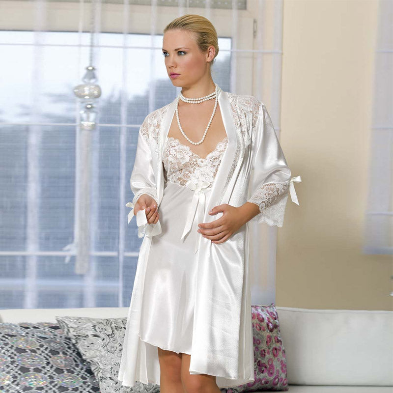 Bridal Babydoll Lingerie with Satin Robe