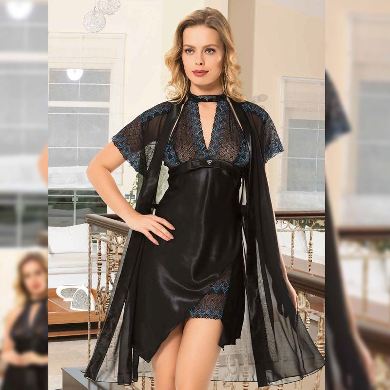 Asymmetric Dress Lingerie with Robe