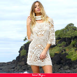 Knitted Hollow Out White Beach Dress
