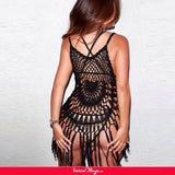 Black Knitted Hollow Out Cool Fringe Beachwear