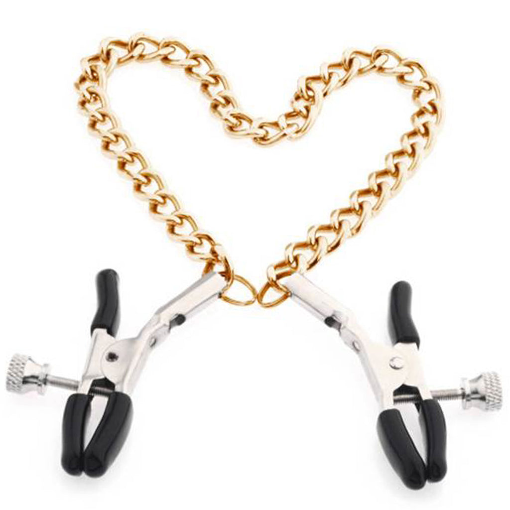 Gold & Silver Chain Nipple Clips Erotic Toy