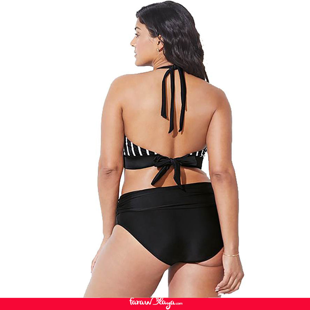 Plus Size Fashion Striped Sexy Black Bikini Set
