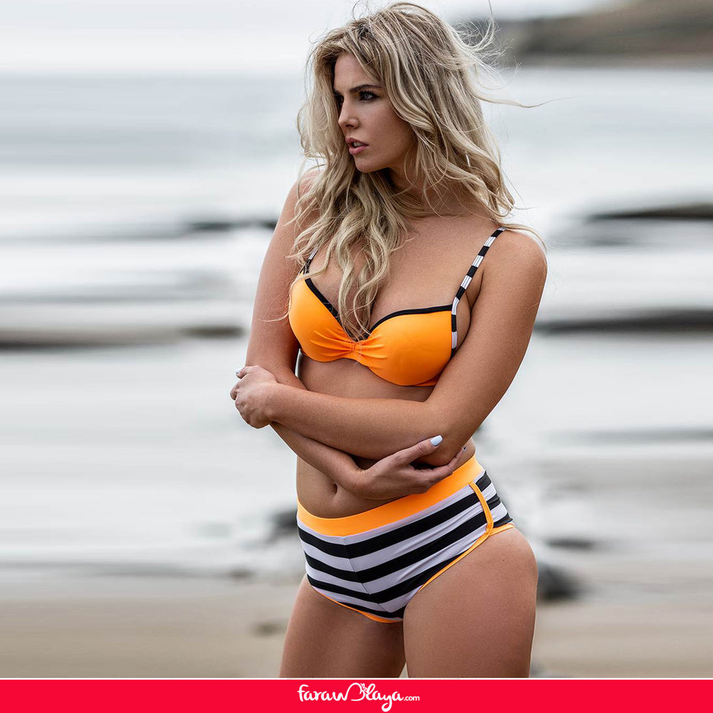 Three-piece suit Fashion Stripe Orange Sexy Bikini Set With Steel Ring