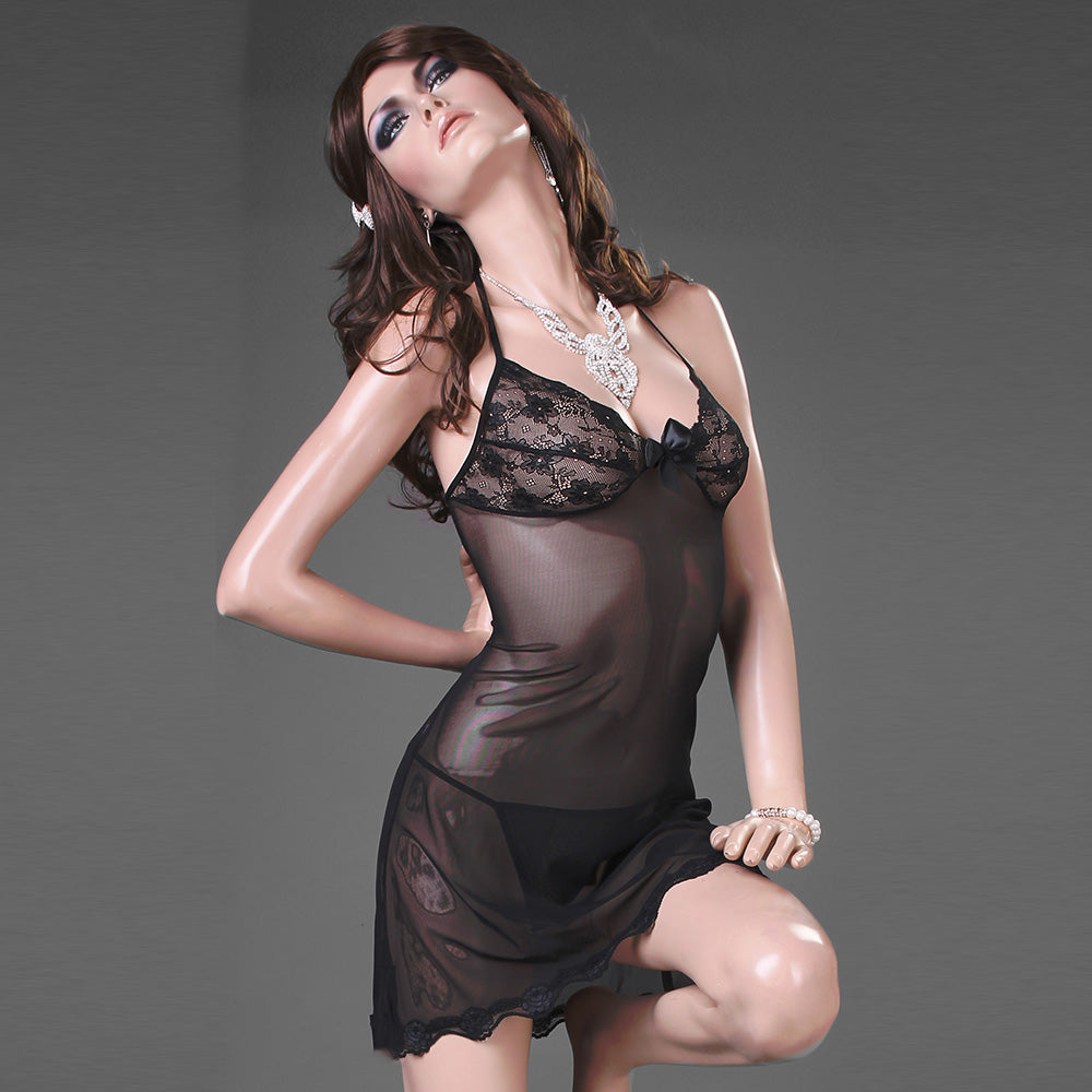 Sexy Babydoll Lingerie with Sheer Lace Detail