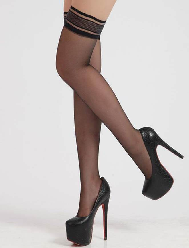 In Stock Black Full Lace Clubwear Stocking