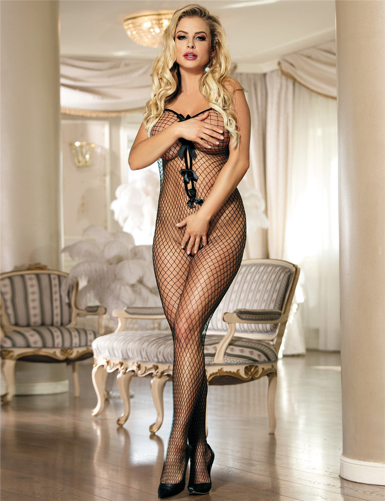Stretch Fishnet Crotchless Bowknot Bodystockings
